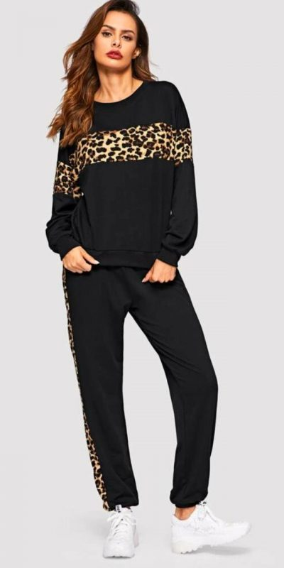 Black Color Leopard Panel Pullover and Joggers Set Track Suit IND Animal Leopard