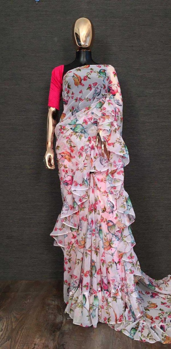 Exotic Off White Color Georgette With Cute Floral Printed Ruffle Style Saree YNF 7100 Off White1