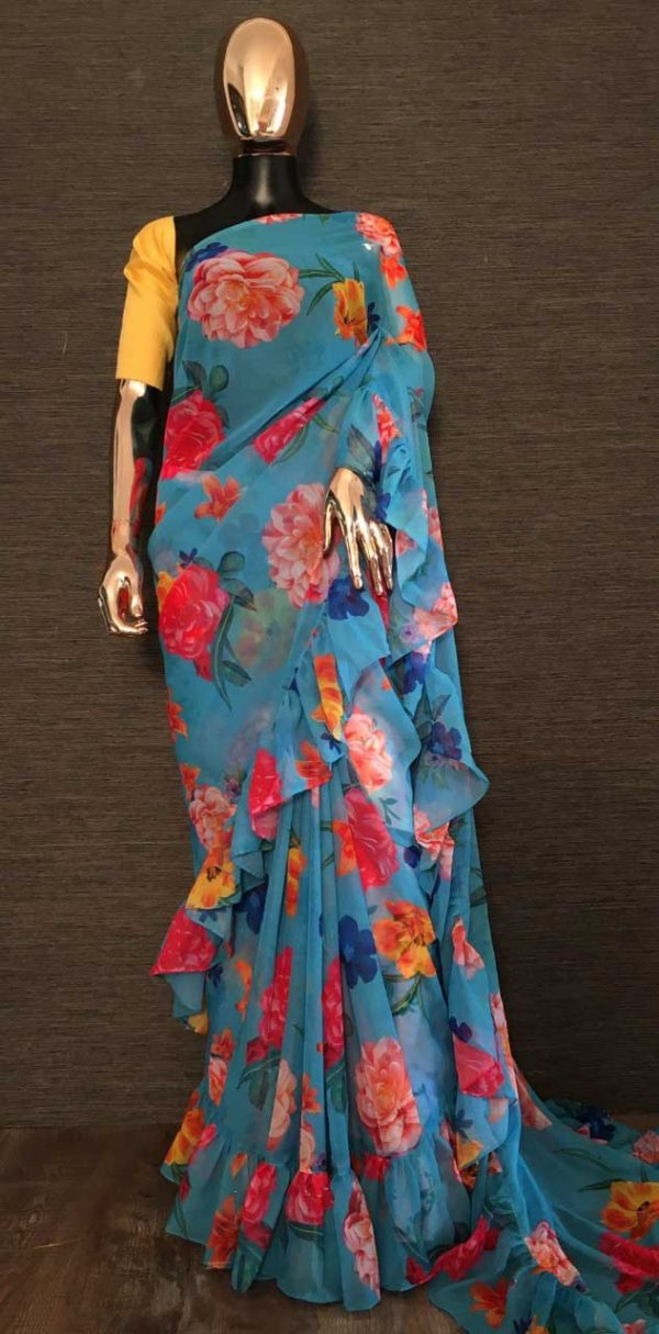 Exotic SkyBlue Color Georgette With Cute Floral Printed Ruffle Style Saree