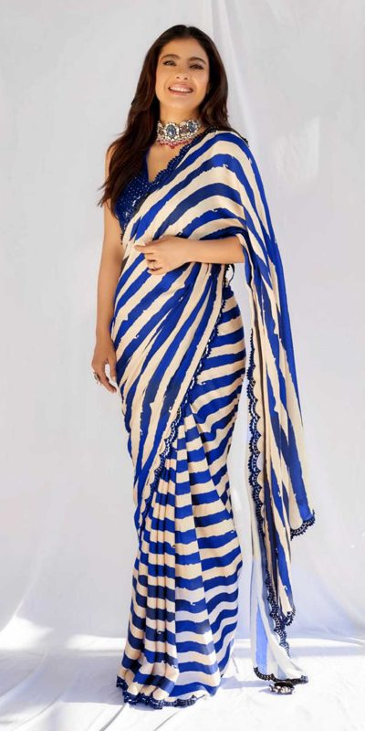 beauteous-kajol-in-blue-white-striped-saree-with-heavy-sequence-blouse
