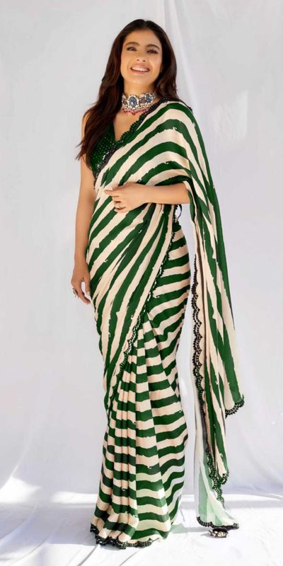beauteous-kajol-in-green-white-striped-saree-with-heavy-sequence-blouse