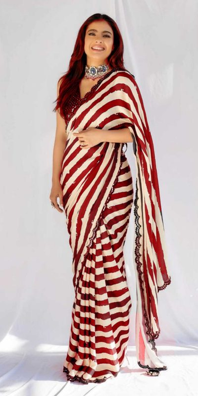 beauteous-kajol-in-red-white-striped-saree-with-heavy-sequence-blouse