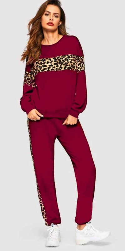 Pink Color Leopard Panel Pullover and Joggers Set Track Suit