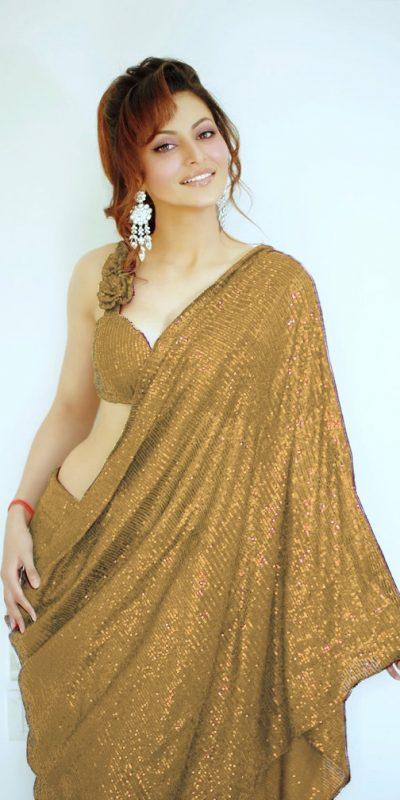 Urvashi Rautela In Heavy Golden Color Full Sequence Work Saree