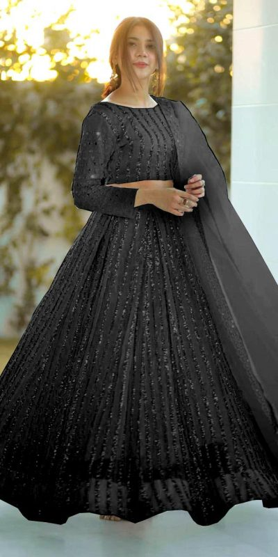 angel-look-with-black-color-georgette-with-sequence-work-lehenga-choli