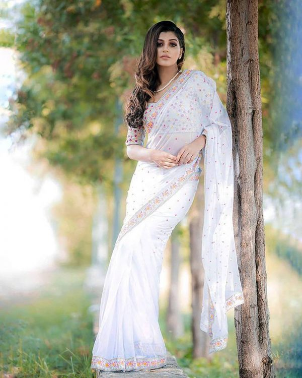 attractive-white-color-georgette-with-embroidery-work-saree