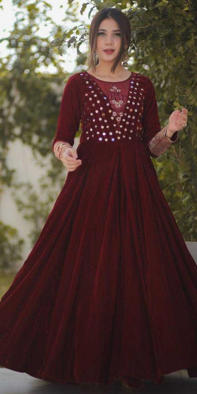elegance-wine-color-original-velvet-mirror-work-party-wear-gown