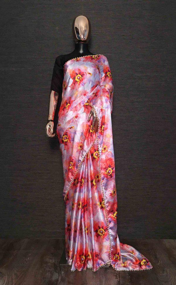 elegant-orange-color-flowers-floral-print-beautiful-party-wear-saree