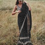 fantastic-black-color-georgette-with-real-mirror-work-ruffle-saree