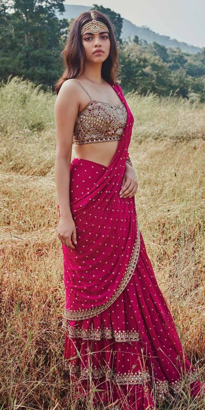 fantastic-pink-color-georgette-with-real-mirror-work-ruffle-saree