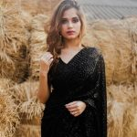 glamorous-jannat-zubair-in-black-color-party-wear-sequence-saree