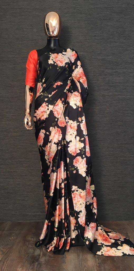 YNF 7048 Black Color Heavy Satin With Floral Printed Party Wear Saree Wedding Daily Events