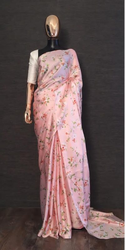 YNF 7048 Pink Pink Color Heavy Satin With Floral Printed Party Wear Saree Wedding Daily Events