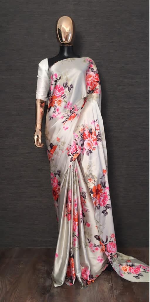 YNF 7048 White Color Heavy Satin With Floral Printed Party Wear Saree Wedding Daily Events