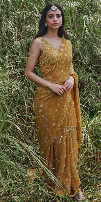 heavenly-yellow-color-georgette-with-embroidery-work-saree