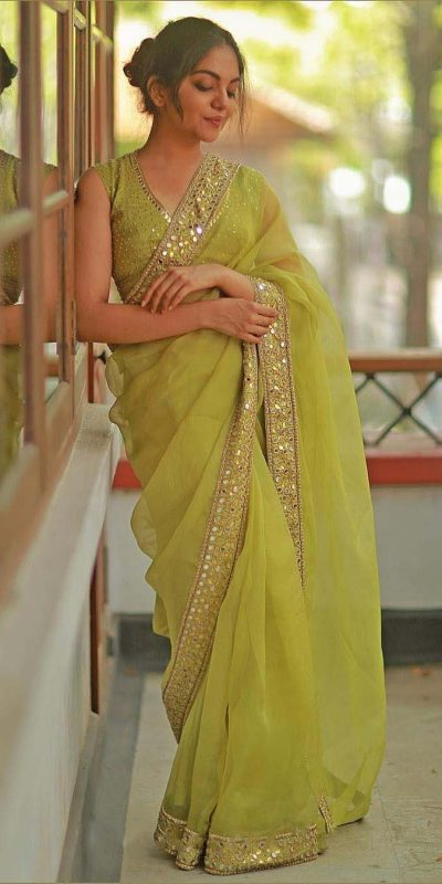 immersive-olive-green-color-organza-with-mirror-work-party-wear-saree