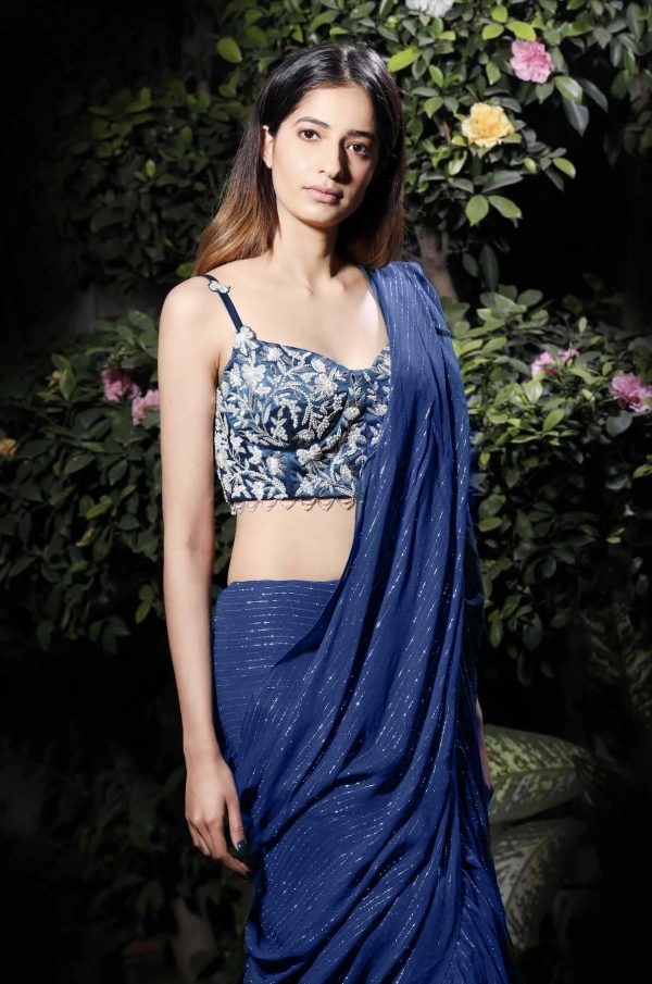 radiant-blue-color-beautiful-sequence-work-ruffle-saree