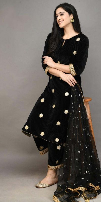 stylish-black-color-viscose-velvet-with-embroidered-plazzo-suit
