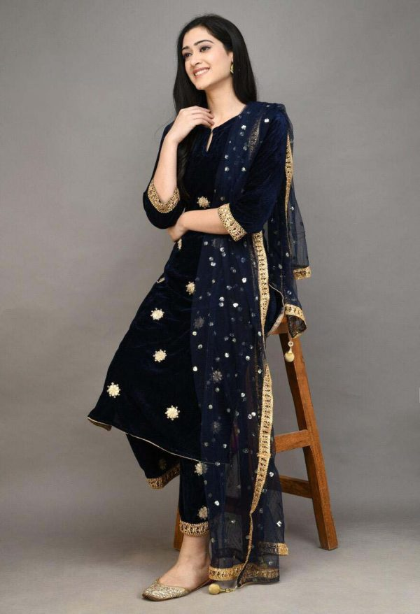stylish-navy-blue-color-viscose-velvet-with-embroidered-plazzo-suit