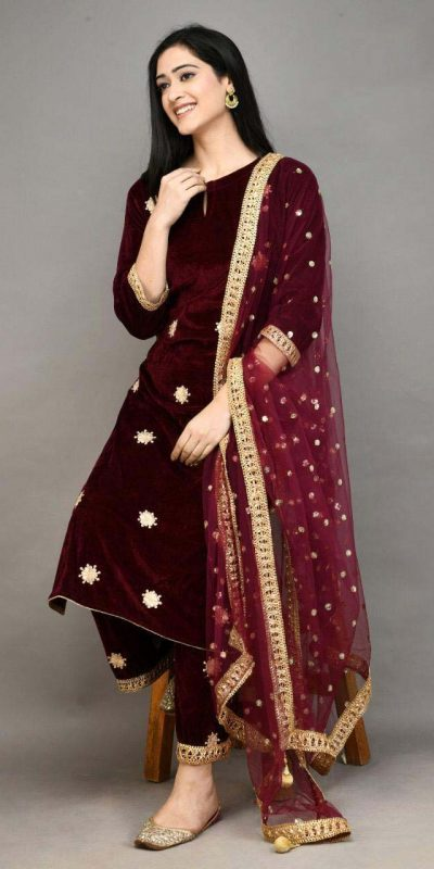 stylish-red-color-viscose-velvet-with-embroidered-plazzo-suit