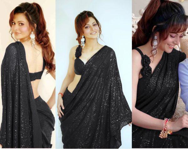urvashi-rautela-in-heavy-Black-color-full-sequence-work-saree