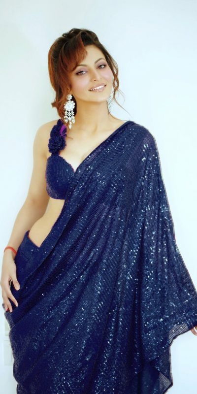 urvashi-rautela-in-heavy-Blue -color-full-sequence-work-saree