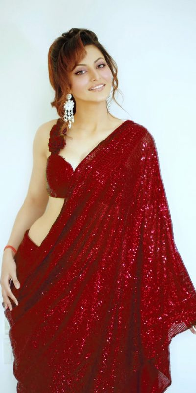 urvashi-rautela-in-heavy-Red-color-full-sequence-work-saree
