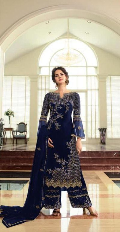 breathtaking-womens-blue-color-georgette-with-embroidery-work-plazzo-suit