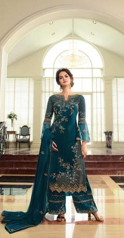 breathtaking-womens-peacock-blue-color-georgette-with-embroidery-work-plazzo-suit