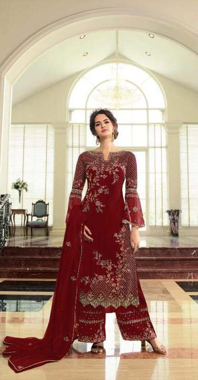 breathtaking-womens-red-color-georgette-with-embroidery-work-plazzo-suit