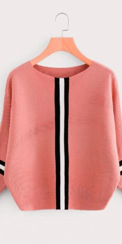 stylish-peach-color-solid-style-middle-stripped-t-shirt