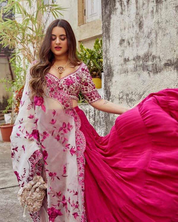 stylish-pink-color-georgette-with-umbrella-flair-party-wear-ruffle-lehenga
