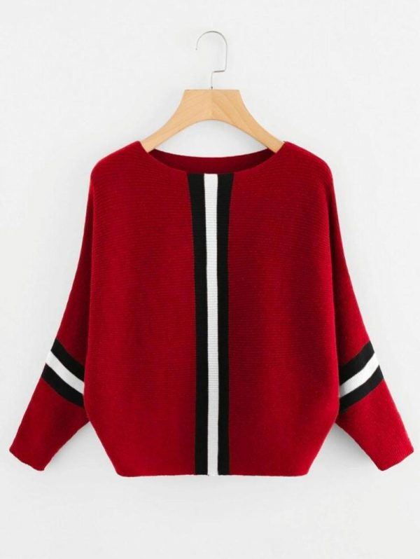 stylish-red-color-solid-style-middle-stripped-t-shirt