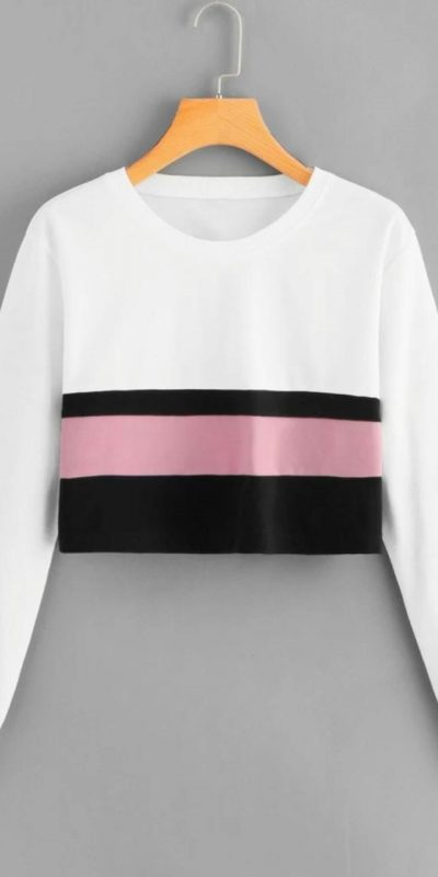 trendy-white-pink-color-rib-cotton-with-stripped-crop-top-sweatshirt