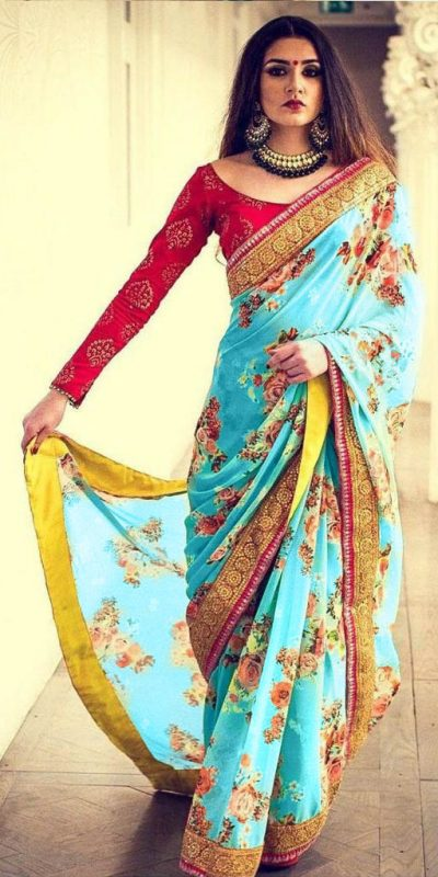 hypnotic-sky-blue-color-georgette-with-beautiful-digital-printed-party-wear-saree