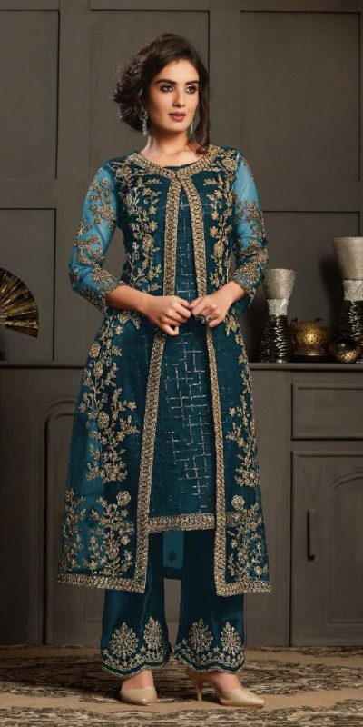 perfect-dazzling-blue-color-heavy-butterfly-net-coding-work-salwar-suit