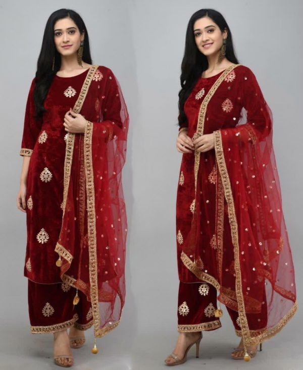 pretty-red-color-viscose-velvet-with-embroidered-plazzo-suit