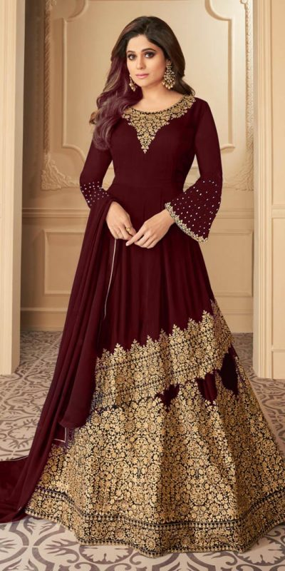 radiant-maroon-color-faux-georgette-with-embroidery-work-anarkali-sharara