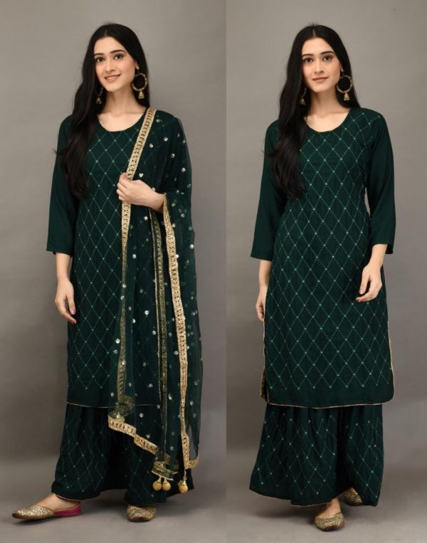 stunning-green-color-heavy-rayon-with-embroidery-mirror-work-plazzo-suit