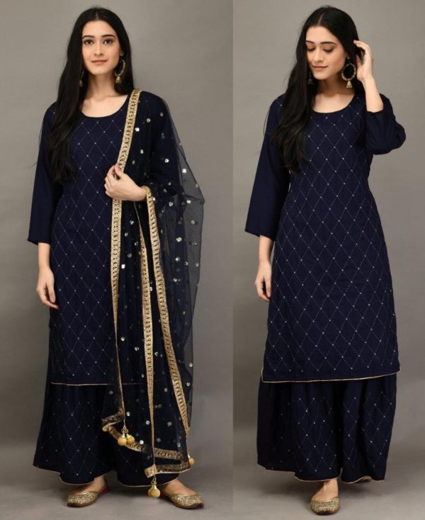 stunning-navy-blue-color-heavy-rayon-with-embroidery-mirror-work-plazzo-suit