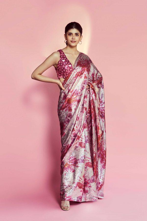 glamorous-sanjana-sanghi-in-pink-color-trending-sequence-saree