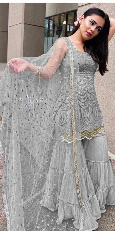 latest-beautiful-grey-color-party-wear-georgette-sharara-suit