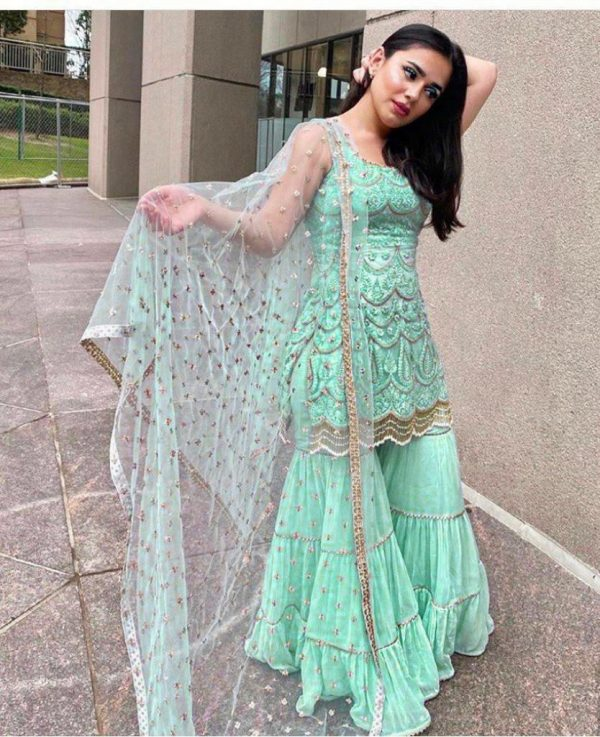 latest-sea-green-color-party-wear-georgette-sharara-suit