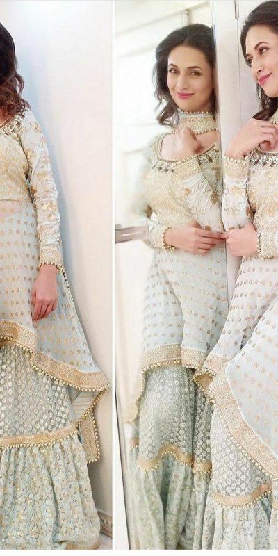 trending-divyanka-tripathi-bollywood-style-off-white-sharara-suit