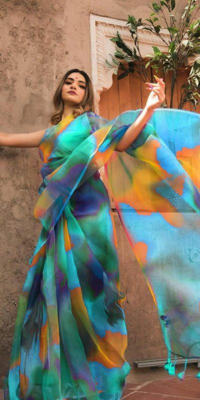 trending-light-weight-sky-blue-color-organza-printed-saree