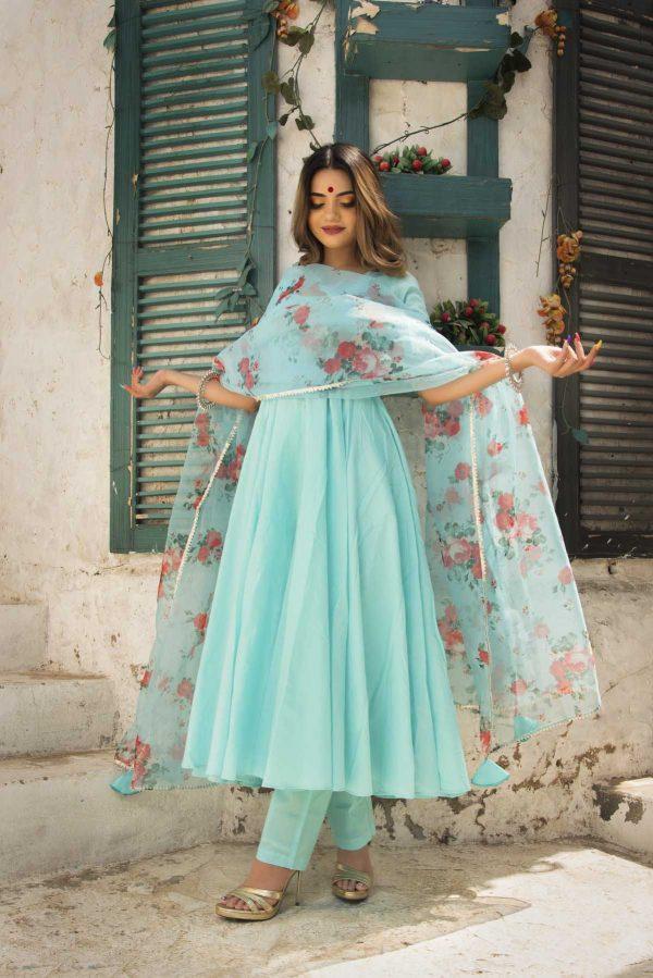 heavenly-sea-blue-color-pc-cotton-designer-gown