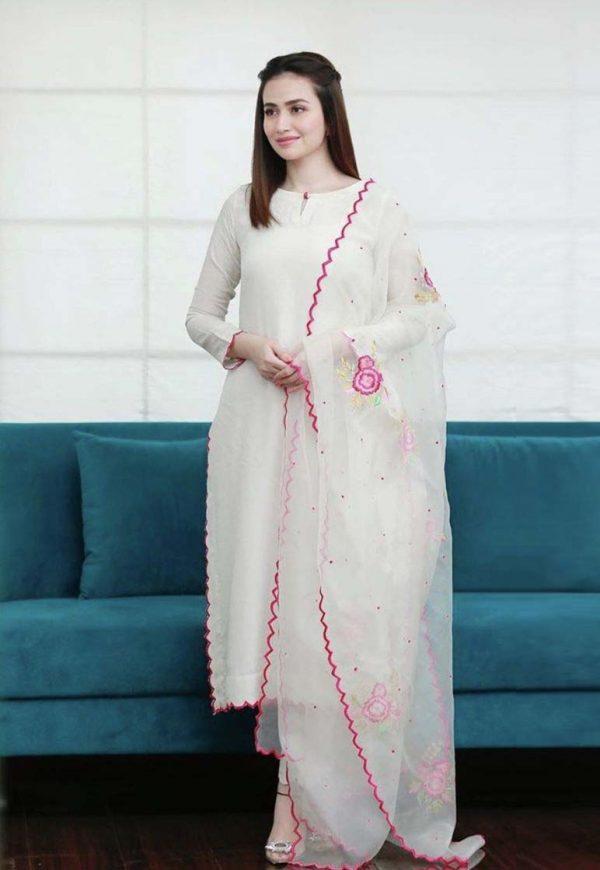 Angelic White Color Cotton Party Wear Salwar Suit
