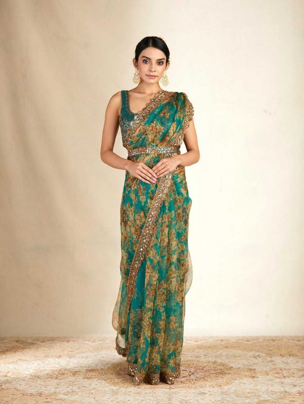 aesthetic-teal-green-color-organza-floral-printed-saree