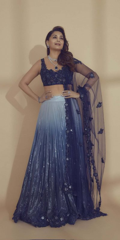 beauteous-madhuri-dixit-in-blue-color-sequence-bollywood-lehenga