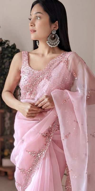 dazzling-baby-pink-color-original-organza-with-real-mirror-designer-saree